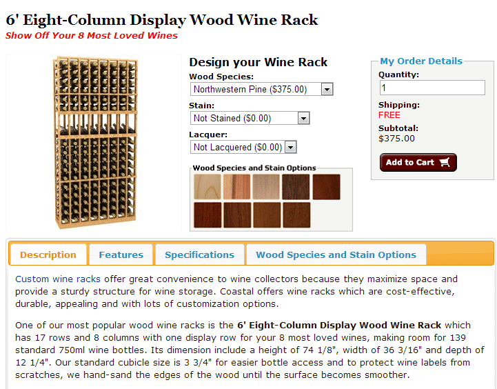 Check out this 6' Eight Column Display Wooden Wine Racks