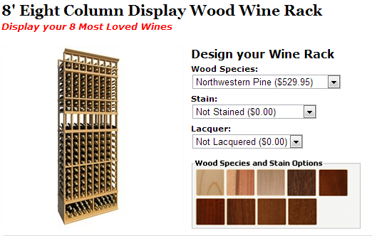 Check ou this 8' Eight-Column Display Wood Wine Racks