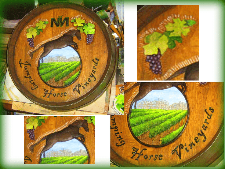 Wine Barrel Carvings - Vineyard and Horse Design