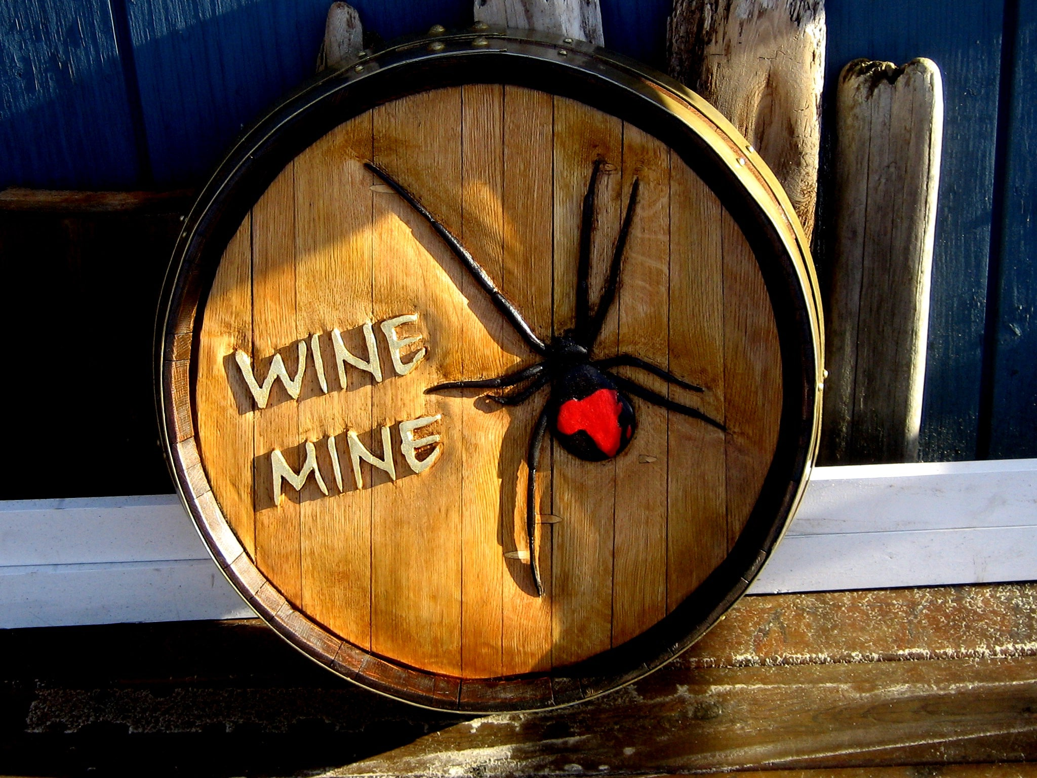 Wine Barrel Design Red Back Spider Features for Custom Wine Cellars   Unique Individualized Wine Barrel Carvings    Part One